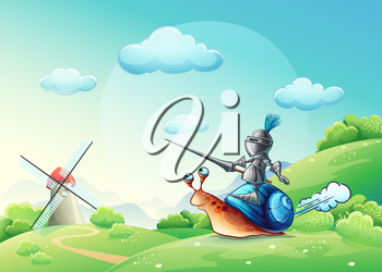 Royalty Free Clipart Image of a Knight Riding a Snail in Front of a Windmill