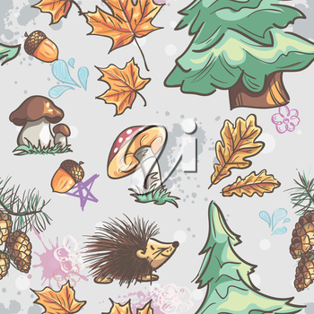 Seamless texture with the image of funny little animals, trees, fungi