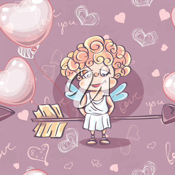 Seamless texture for Valentine's Day with the image of Cupid with balloons