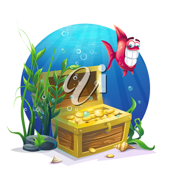 Chest of gold and fish in the sand underwater - vector illustration for design, banners, flyers, textures, backgrounds, postcards