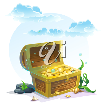 Chest of gold in the sand under the blue clouds - vector illustration for design, banners, flyers, textures, backgrounds, postcards