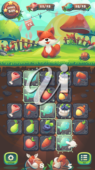 Feed the fox GUI playing field match 3 - cartoon stylized vector illustration mobile format window with options buttons, game items.