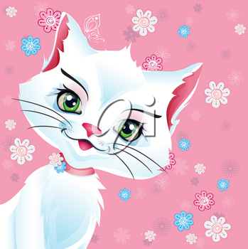 Vector illustration White Pussy cat on a pink background with flowers