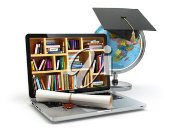 Education concept. Laptop with books, globe, graduation cap and diploma. 3d