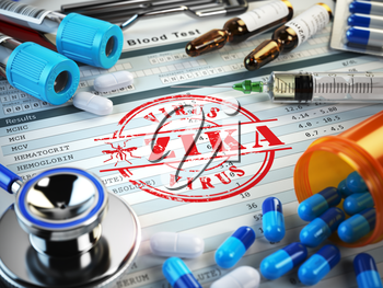 Zika virus  diagnosis. Stamp, stethoscope, syringe, blood test and pills on the clipboard with medical report. 3d illustration