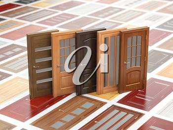 Different wooden doors on catalog with samples. Interior design and construction concept. 3d illustration