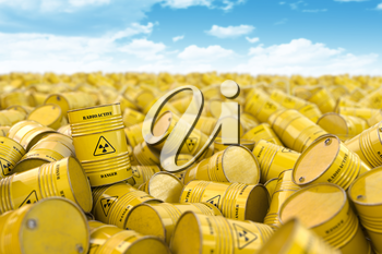Storage and utilization of nuclear radioactive waste concept background. Heap of yellow barrels with radioactive sign. 3d illustration