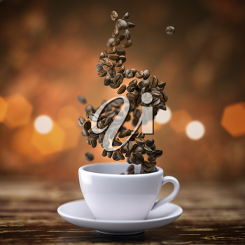 Coffee cup with coffee beans on wooden table. 3d illustration