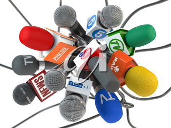 Press conference or interview, Microphones of the different maxx media, tv, radio isolated on white background. 3d illustration