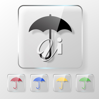 Umbrella icon on a transparent glossy square. Protect from rain concept.
