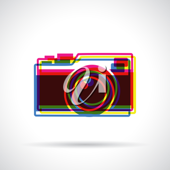 Hipster camera icon. Anaglyph 3d colors. Flat modern design.
