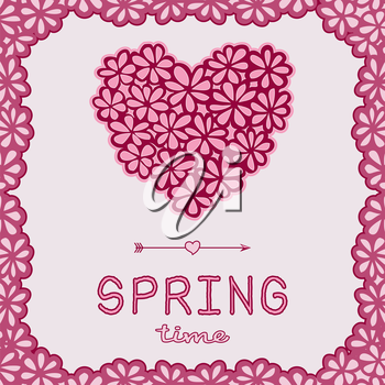 Spring time doodle card. Pink floral heart and arrow with frame. Design element for Valentine's Day, wedding, baby shower, birthday card etc. Vector illustration.