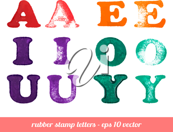 Isolated rubber stamp letters set. A - Y vowels. Vector illustration.