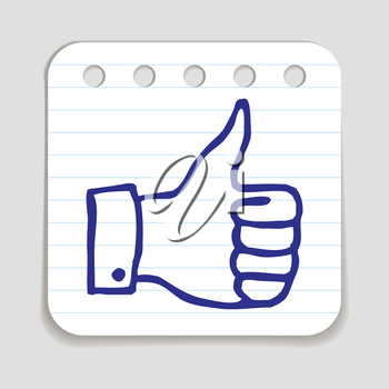 Doodle Thumbs Up icon. Blue pen hand drawn infographic symbol on a piece of notepaper. Line art style graphic design element. Web button with shadow. Approval, vote, love, favorite gesture concept.