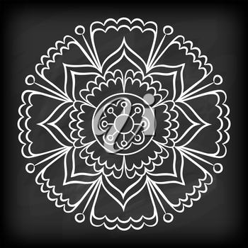 Doodle mandala flower on chalkboard. Outline floral design element. Coloring book pattern. Decorative round flower. Anti-stress therapy pattern on white background. Meditation poster. Vector illustrat