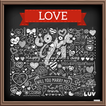 Chalk board doodle set of hearts, arrows, bows, presents, flowers etc. Design elements for Valentines Day, wedding invitation, baby shower, birthday card etc. Vector illustration.