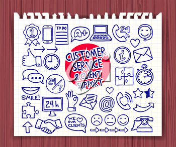 Doodle Customer Service icons set. Hand drawn doodle symbols collection. Graphic elements for web sites, corporate printables, educational posters, infogrpahics. Vector illustration.