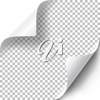 Curly Page Corners set. Realistic illustration with transparent shadow. Ready to apply to your design. Graphic element for documents, templates, posters, flyers. Vector illustration.
