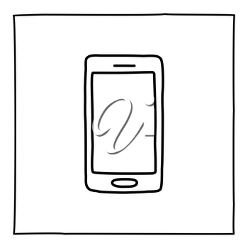 Doodle mobile smart phone icon or logo, hand drawn with thin black line. Isolated on white background. Vector illustration