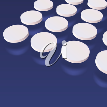 Three dimensional abstract white pills on dark background, vector