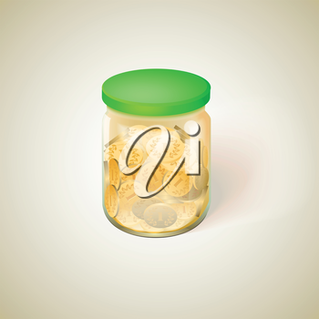 Pot with golden money coins vector illustration