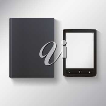 E-book with blank black book. Vector illustration for your presentation and design.