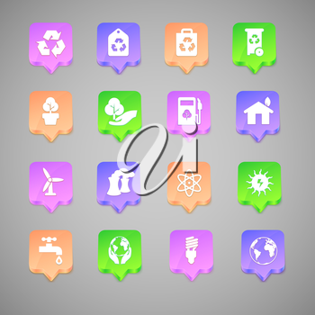 The set of environmental icons with colored background.