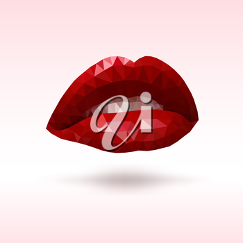 Female lips with triangles. Vector geometric illustration