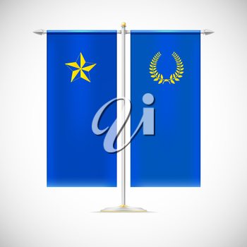 Blue vertical flag on a pole with star and Laurel wreath