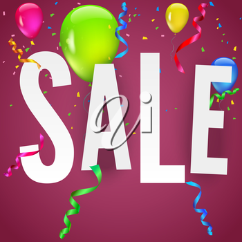 Sale banner on festive background with party flags, garlands and confetti. Editable vector