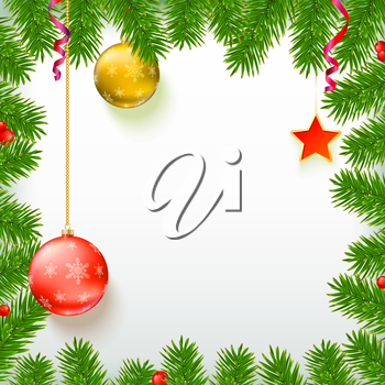 Christmas background with fir branches, red viburnum berries, Christmas balls, beads, a red star with ash trim, New Year ornaments and streamers on white background with place for your text.