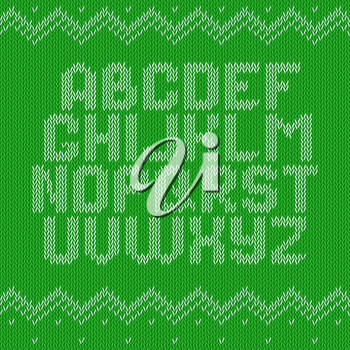 Knitted alphabet on green background. Christmas crochet font on knitted classic ornament pattern. All the letters are on different layers, it is convenient to produce words and sentences