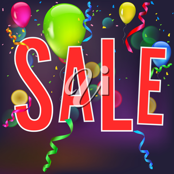 Sale banner on festive background with party flags, garlands and confetti. Vector editable symbol, easy to change size