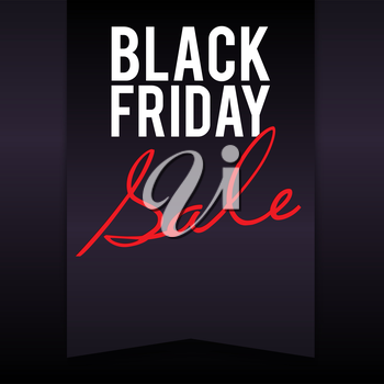 Black Friday sale inscription on large black banner, pennant, flag with dark background, design template