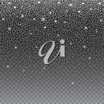 Falling, beautiful, shining Christmas snow. Snowfall isolated on transparent background. Vector illustration snow-flakes.