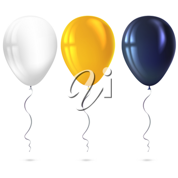 Inflatable air flying balloons isolated on white background. Close-up look at black, white and yellow balloons with reflects. Realistic 3D vector illustration