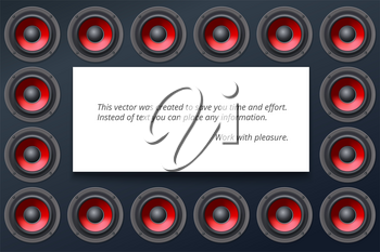Audio speakers, subwoofers, wall of sound loudspeaker with red diffuser isolated on dark background. White banner with copy space, place for your text. Vector illustration, eps10