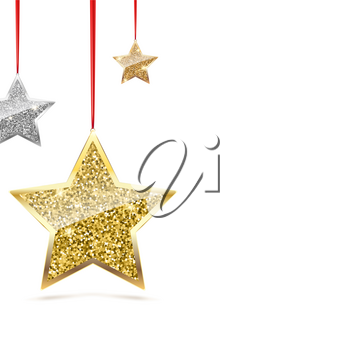 Glitter background with ilver and gold hanging stars. Merry Christmas and Happy New Year background. Template for vip banners or card, exclusive certificate, luxury voucher