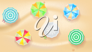 Set of colorful beach sun umbrellas flip-flops and beach Mat on the background of sand with beach flip flops and starfish, top view icons. Vector illustration for your design, poster, covers, or flyer
