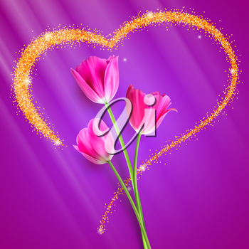 Realistic Tulip flowers. Flowers of tulips close-up on the backdrop of big heart with gold glitter dust. The symbol of romance. With love, template for a greeting card, 3D illustration.