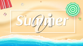 Summer background, banner with seashore, sun umbrellas, golden sands and beach Mat. Big inscription Summer into the white frame with shadow