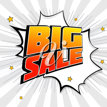 Big sale pop art splash background, explosion in comics book style. Advertising signboard, price reduction with halftone dots, cloud beams on transparent backdrop. Vector template for ad, or posters.