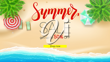 Sale. Summer offer, get up to fifty percent discount. Seashore, sandy beach with deckchairs, sun umbrellas. Reduced prices, template for posters, banners