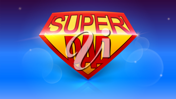 Super dad logo like superhero. Stylish glossy text Super Dad on blue background. Happy Father s Day celebration concept. Template for greetings cards with glow and bokeh effect