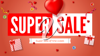 Sales poster with text design and holiday gifts. Gift boxes, big red heart, burning candle and serpentine. Super sales of the week discount. Advertising poster for shopping events, 3D illustration