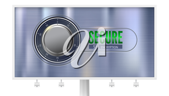 Secure SSL connection, billboard with poster, isolated on white. Concept security of information protected. Safe lock on metal surface. Safe data encryption technology, https certificate privacy sign.
