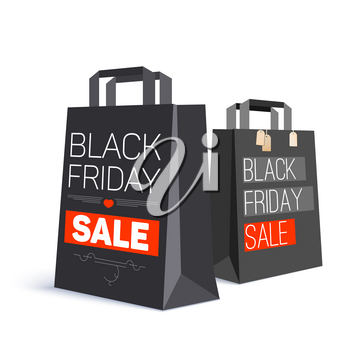 Black paper shopping bag with ad text. Black friday sale and with labels from the purchase on the bag. 3D illustration. Template for online shopping, advertising actions