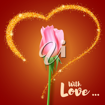 Realistic rose Bud. Close-up the flower Bud of the rose on the backdrop of big heart with glitter. Postcard the symbol of romance. With love, template for a greeting card, 3D illustration.