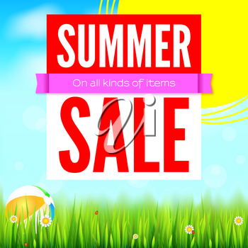 Sale an all kinds of items. Summer hot discounts. Selling ad banner. Sun summer background with big yellow sun, inflatable beach ball, green field, clouds and blue sky. Template for shopping.