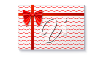 Gift box with big red bow and ribbon, isolated on white background. Top view on gift packaged in a paper with pattern